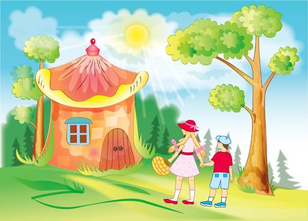 children go through the fabulous forest Vector