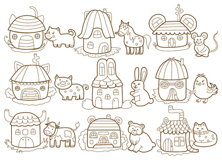 farmstead: animals and their houses  coloring book  Illustration