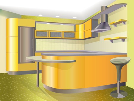 yellow kitchen Vector