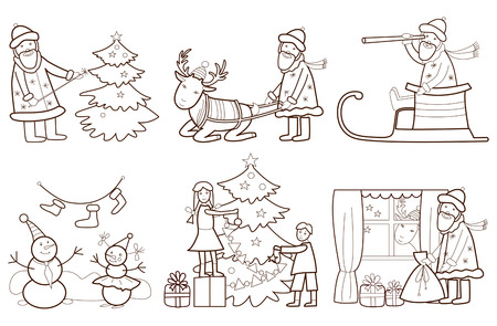 Set of Christmas illustration with Santa Claus and reindeer  coloring book  Vector