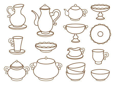 decorative items: collection of porcelain tableware for tea  coloring book