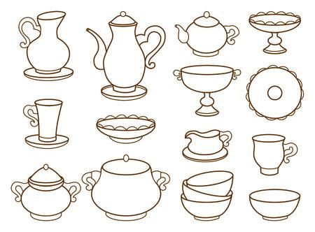 Sammlung von Porzellan-Geschirr f�r die Tee-Malbuch