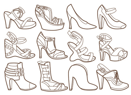 high heeled: fashion shoes collection  coloring book