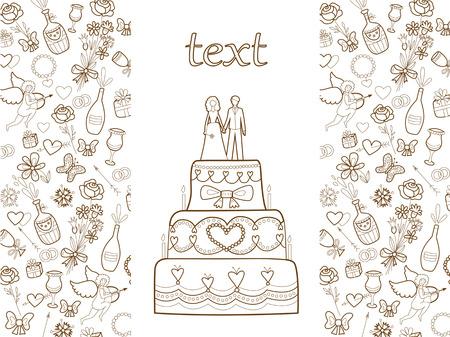 wedding card  coloring book  Vector