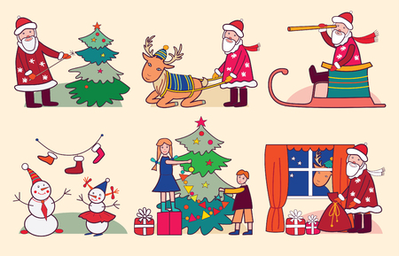 Christmas with Santa, reindeer and children  vector illustration  Vector