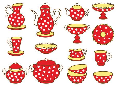 tea set: tea set  vector illustration