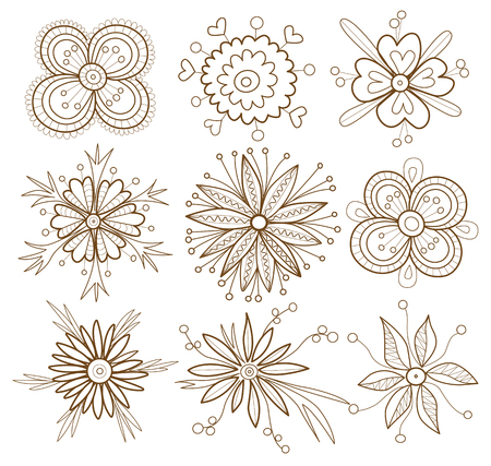 set of flowers  Coloring Book  Vector