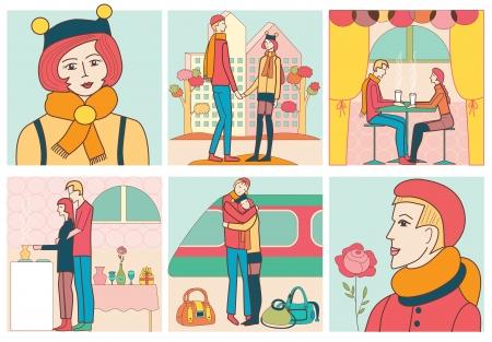 fashion story: love story  vector illustration  Illustration