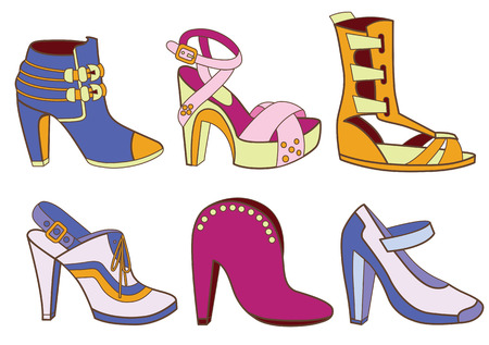 high heeled: collection of fashionable women