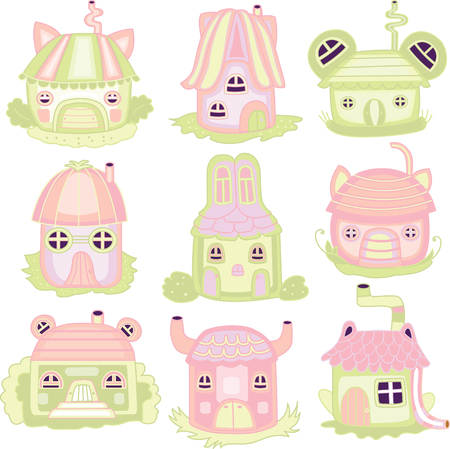 icons with color houses for children Vector