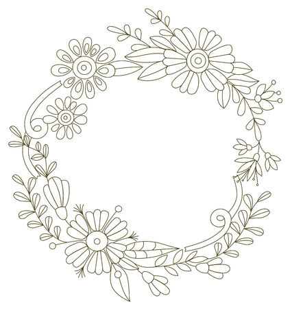Flower frame  Designed for invitations for the holidays Vector