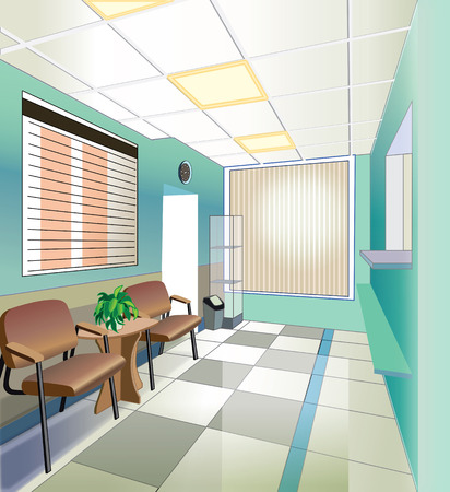 waiting room: green hall of hospital  illustration