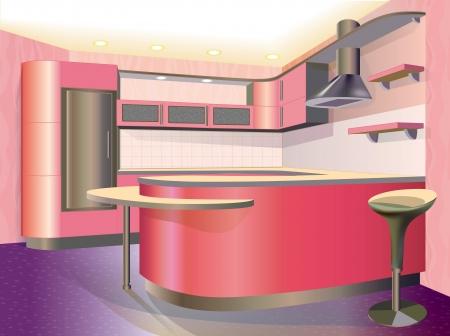 pink kitchen interior  illustration  Vector