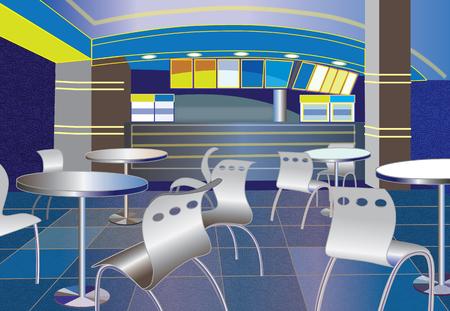 night club interior: blue cafe interior  vector illustration  Illustration