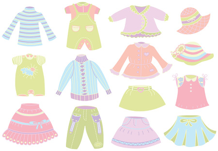 collection of summer children Vector