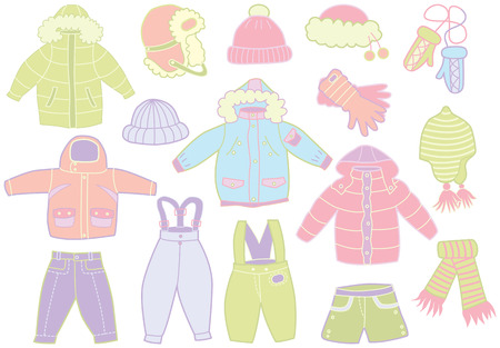 collection of winter children Vector