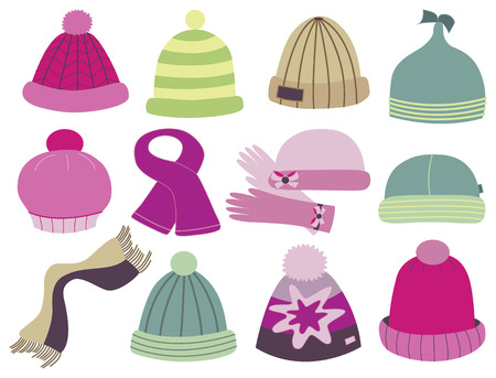 collection of fashionable caps  vector illustration  Vector