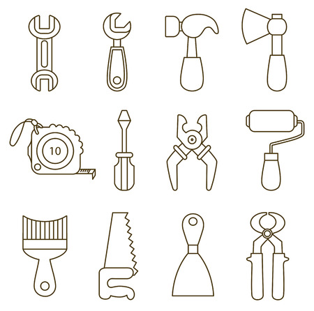 set of working tools icons  coloring book  Vector