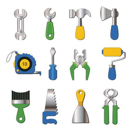 set of working tools icons Vector