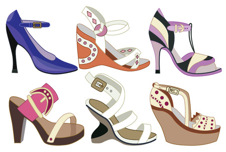 foot gear: collection of fashionable women
