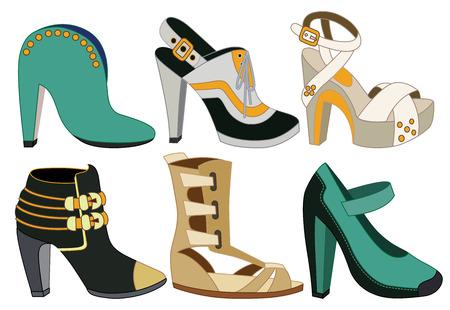 high heeled: set of women shoes  vector illustration