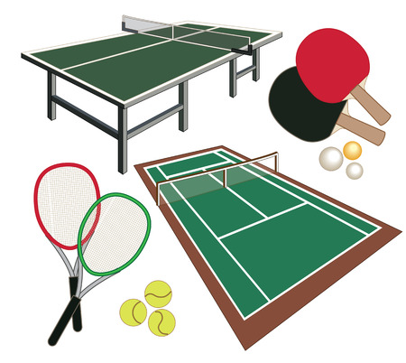 set of different icons for tennis Illustration