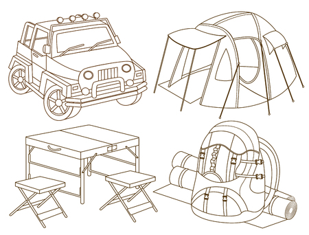 the jeep: set of travel icons