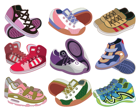 set of sport shoes  vector illustration  Vector