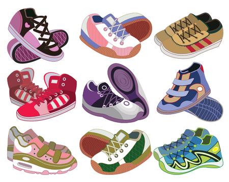 set of sport shoes  vector illustration  Vector