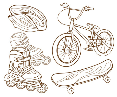 trail bike: Icons for extreme skiing Illustration