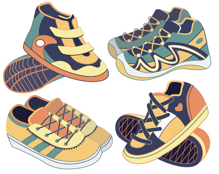 set of sport shoes (vector illustration) Vector