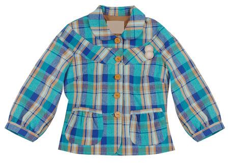blue checkered jacket isolated on white photo