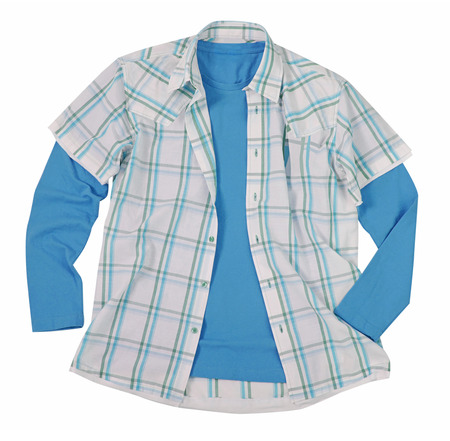 checkered polo shirt: blue shirt isolated on white