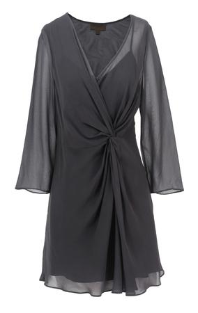 negligee: black peignoir isolated on white Stock Photo