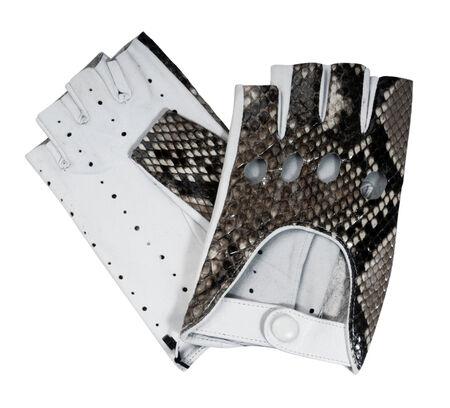 furskin: fingerless gloves isolated on white Stock Photo