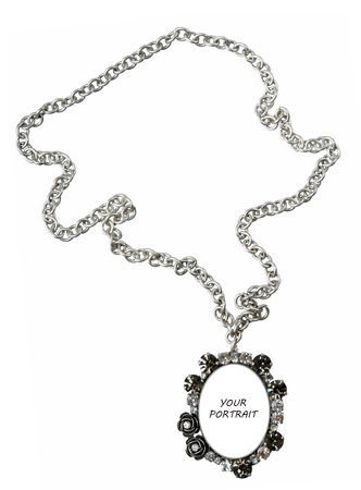 silver necklace isolated on white (border with copyspace for your portrait) photo