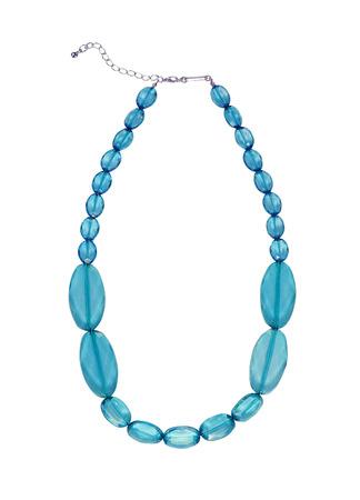 blue necklace isolated on white photo