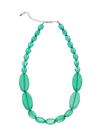 green necklace isolated on white photo