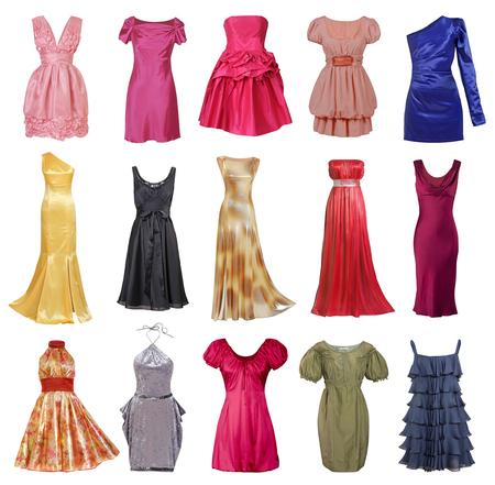 satin dress: large collection of stylish evening dresses women (isolated on white)