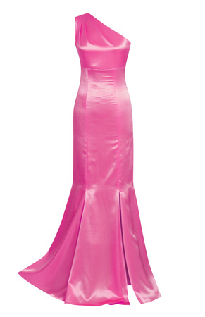 pink silk dress isolated on white photo