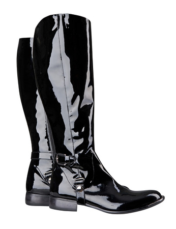bdsm: black boots isolated on white background