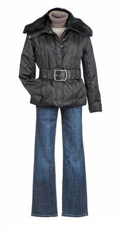 black jacket isolated on white background photo