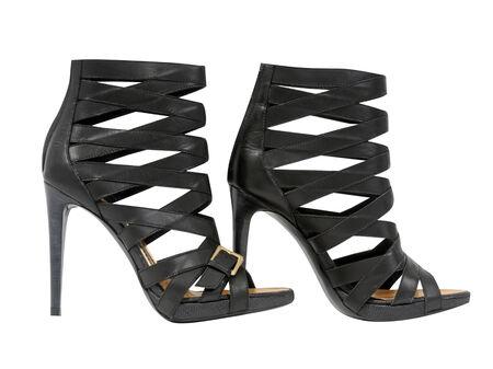 high heeled: black shoes isolated on white background Stock Photo