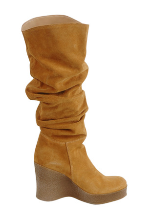 high heeled: yellow boot isolated on white