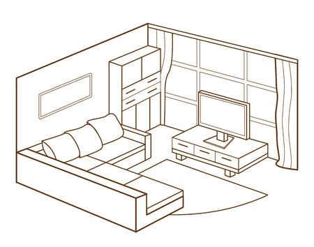modernen Wohnzimmer Innenraum Illustration