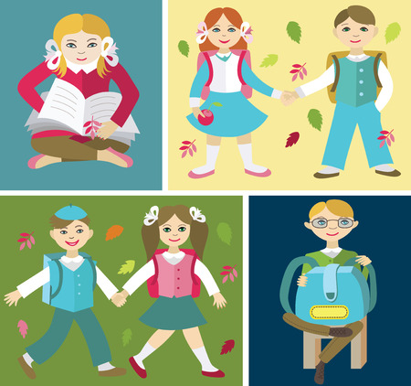 schooldays: Back to school (vector illustration, flat concept)