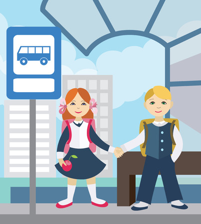 Children waiting for school bus. Back to school (vector illustration, flat concept)