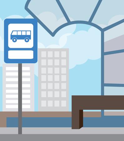 deserted: Bus stop for school bus. Back to school (vector illustration, flat concept) Illustration