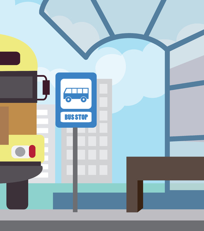 yellow schoolbus: Bus stop for school bus. Back to school (vector illustration, flat concept) Illustration