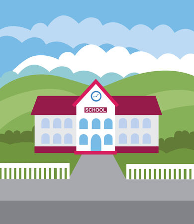 front or back yard: School building (vector illustration, flat concept)